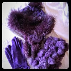 Earflap Hat, Fur Scarf, and Mittens